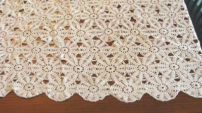 Antique Hand Crocheted Cottage Bedspread Tablecloth Pinwheel Stitch 56x68