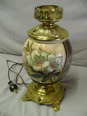 """Oil Lamp Gone With The Wind Type With White Flower 12"""" Tall Vintage"""