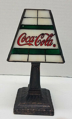 "Coca Cola 8"" Stained Glass Tealight Lamp Coke Collectible Tiffany Style"