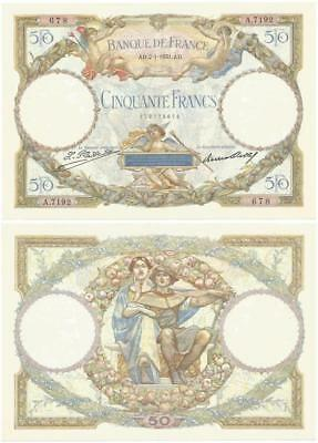 """1931 FRANCE >Choice< NEARLY UNUSED """"Cinquante"""" or 50 FRANCS Scarce OVERSIZE NOTE"""