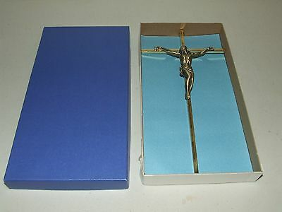 Vintage Brass Art Deco Jesus Crucifix Wall Cross NOS Unused with Original Box