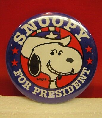 Peanuts Vintage Snoopy For President Pinback Button