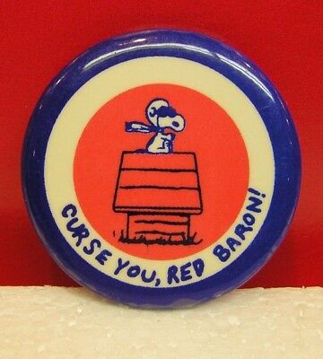 Peanuts Snoopy Flying Ace Curse You Red Baron Vintage Pinback Button