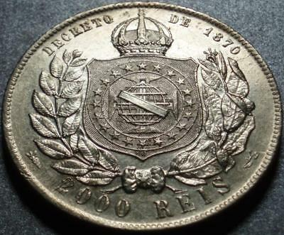 1889 EMPIRE of BRAZIL Crown Size SILVER 2000 REIS Dom Pedro II, YEAR EMPIRE FELL