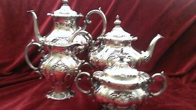 4 Piece Gorham Chantilly Pattern Silver Plate Tea Set Holloware good condition