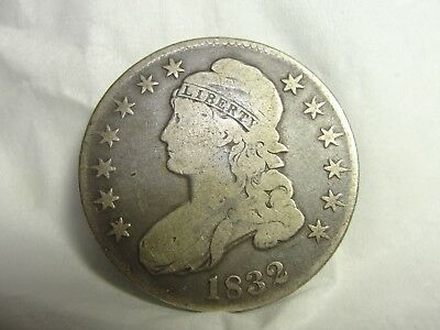 1832 U.S. Early Capped Bust Half Dollar 50 cent Silver Coin  -NO RESERVE