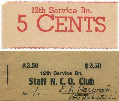 1944-1945 US MARINE CORPS on OKINAWA Good For 5¢ NCO Chit 12th SERVICE BATTALION