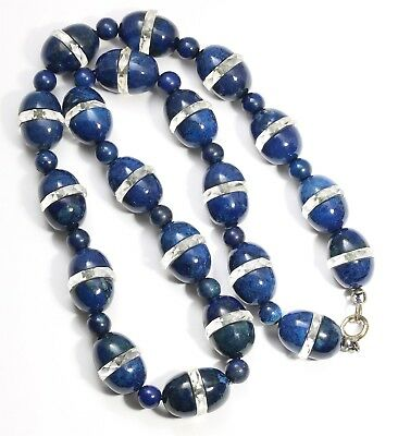 Vintage Art Deco Ornate Geometric Bisected Lapis & Crystal Bead Choker Necklace