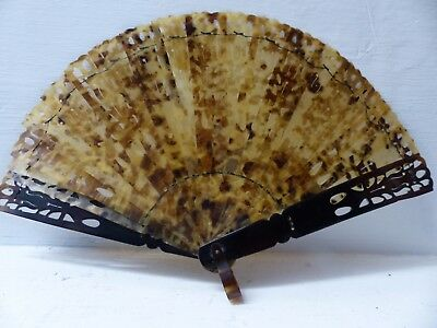 Very Fine Old Faux Tortoise Shell Fan - Pretty Old Example - Very Rare - L@@k