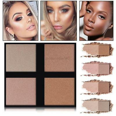 4 Colors Makeup Highlighter Face Powder Bronzer Contour Palette Concealer Powder