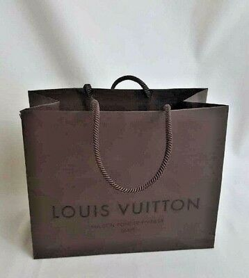 Authentic Louis Vuitton Brown Paper Retail Shopping Bag Small 9 X 7 X 7""