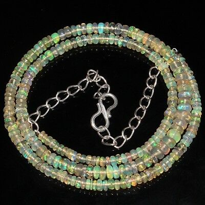 31 Ct Natural Ethiopian Welo Fire Opal Smooth Rondelle Plain Beads Necklace 8197