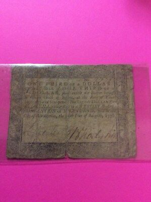 Colonial Currency 1776, August 14th Printed Annapolis Maryland 1/3 of a Dollar