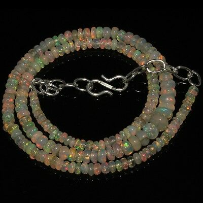46 Ct Natural Ethiopian Welo Fire Opal Smooth Rondelle Plain Beads Necklace 662