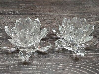 Shannon Crystal by Godinger Lotus Crystal Candle Holders Set of 2 New in Box