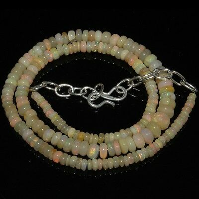 48 Carat Natural Ethiopian Welo Opal Smooth Rondelle Plain Beads Necklace #3264