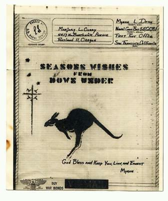 WW2 V-MAIL 55th SEABEES Naval Const. BN ILLUS Kangaroo Greetings From Down Under