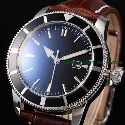 46mm Black Sterile Dial Mens Automatic WristWatch Rotatable Bezel Brown Strap 02
