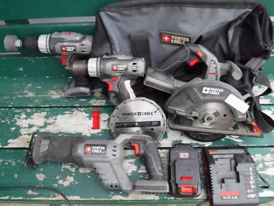 Porter Cable 4 Piece Power Tool Set Drill Skill Saw & Sawzall W/ Carrying Bag
