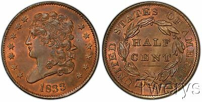 1833 Classic Head Half Cent Pcgs Ms 65 + Rb Cac Extremely Rare