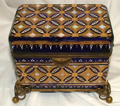 Antique Moser Gold Encrusted Enamel Cobalt Blue Hinged Jewelry Casket Box w/ key
