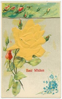 Silk Cloth Attached Vintage Postcard Yellow Rose Best Wishes Attachment
