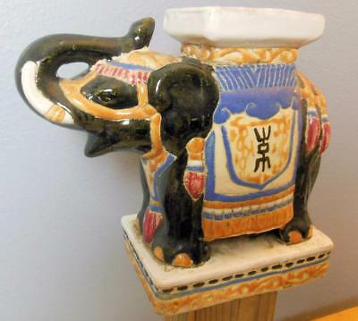 """Vintage Pottery Elephant Plant Holder Bridle and Blanket 9.5"""" Tall x 11"""""""