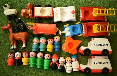 Vintage FISHER PRICE LITTLE PEOPLE Lot Figures Animals Cars Accessories