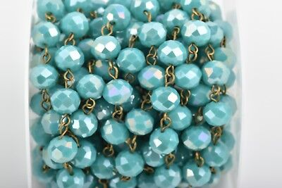 1yd TURQUOISE BLUE AB Crystal Rondelle Rosary Chain, bronze, 10mm beads fch0663a