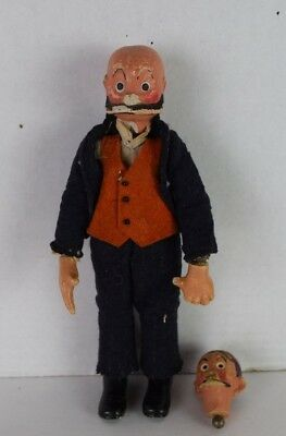 Vintage 1920's RARE Bucherer Swiss MUTT AND JEFF Doll Comic Character Metal Ball