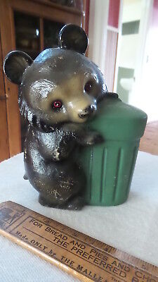 Vintage Plastic Figural BANK, BLACK BEAR HUGGING TRASH CAN