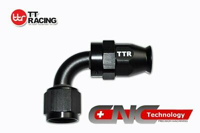 Black 8 AN AN 8 90 Degree Swivel Brake Fittings Hose Teflon PTFE Braided Fuel