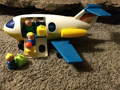 Vintage Fisher Price Little People Airport Jet Plane Airplane Yellow Blue
