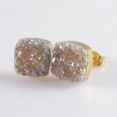 10mm Square Natural Agate Titanium Druzy Stud Earrings Gold Plated T047122