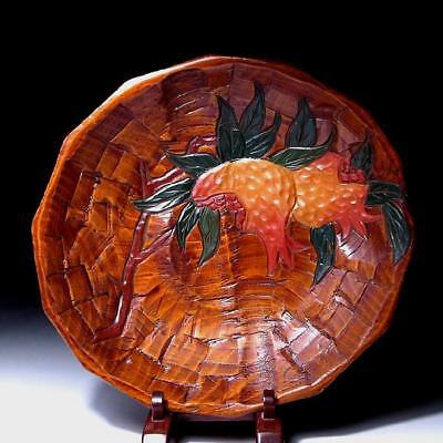 UO2: Japanese Lacquered Wooden tea plate, Sanuki Woodcarving work, 10.4 inches