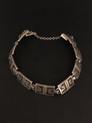 Vintage Tribal Sterling Silver Signed Taxco Mexico Abalone Shell Link Bracelet