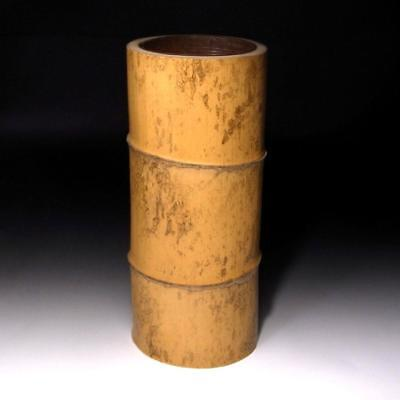 TR4: Vintage Japanese Natural Bamboo Vase with Copper tray, Tea ceremony