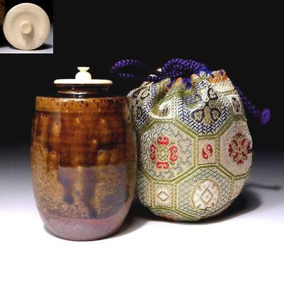 TR3: Vintage Japanese Tea Caddy with high-class lid, Seto Ware with Cloth bag