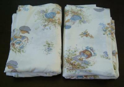 Set of Vintage Children's sheets, Holly Hobbie style , blue, 2 flat sheets, #2