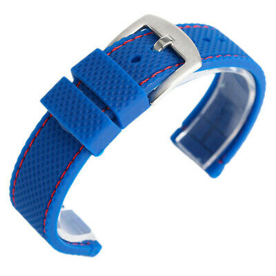 18/20/22/24mm Soft Diving Sport Silicone Rubber Watch Strap Band Black/Blue