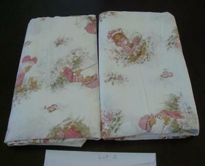 Set of Vintage Children's sheets ,Holly Hobbie style , pink, 2 flat sheets, #3