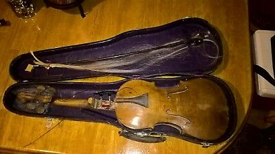 antique old violin with case