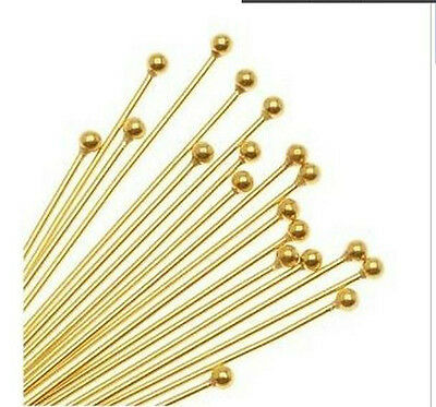 Free Ship 150pcs Gold Plated Ball Head Pins Jewellery Craft Findings 40mm