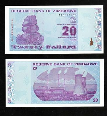 Bank Note World From Zimbabwe In Africa, 1 Note Of $20, Prefix Aa, 2009 Unc
