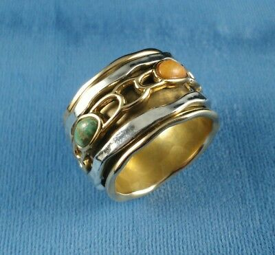 Designer Studio BARSE Wide Sterling Silver Turquoise Coral Spinner Ring Size 9