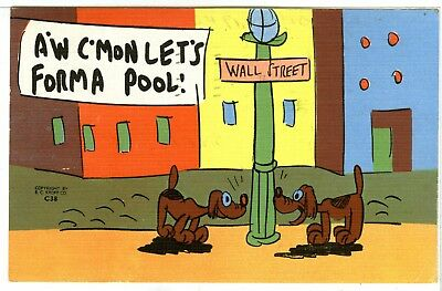 """1 of 2 Funny Dogs, """"A'W C'Mon Lets Forna Pool"""", 2 Dogs Sniffing a Light Post..."""