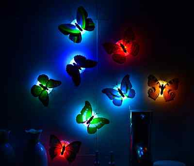 Christmas Change Colors Stick-on Butterfly Wall Xmas Decor LED Night Light Lamp