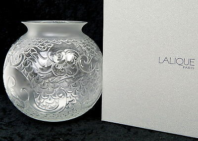 Lalique France Crystal X'ian Dragon Round Fish Bowl Vase 1249800 New in Box