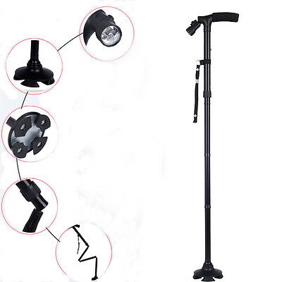 Adjustable Folding Handle Smart Cane With LED Lights Walking Stick Black Durable