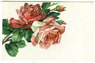 1 of 3 Embossed and Textured Card, Pretty Stem of Pink Roses and Rose Buds...